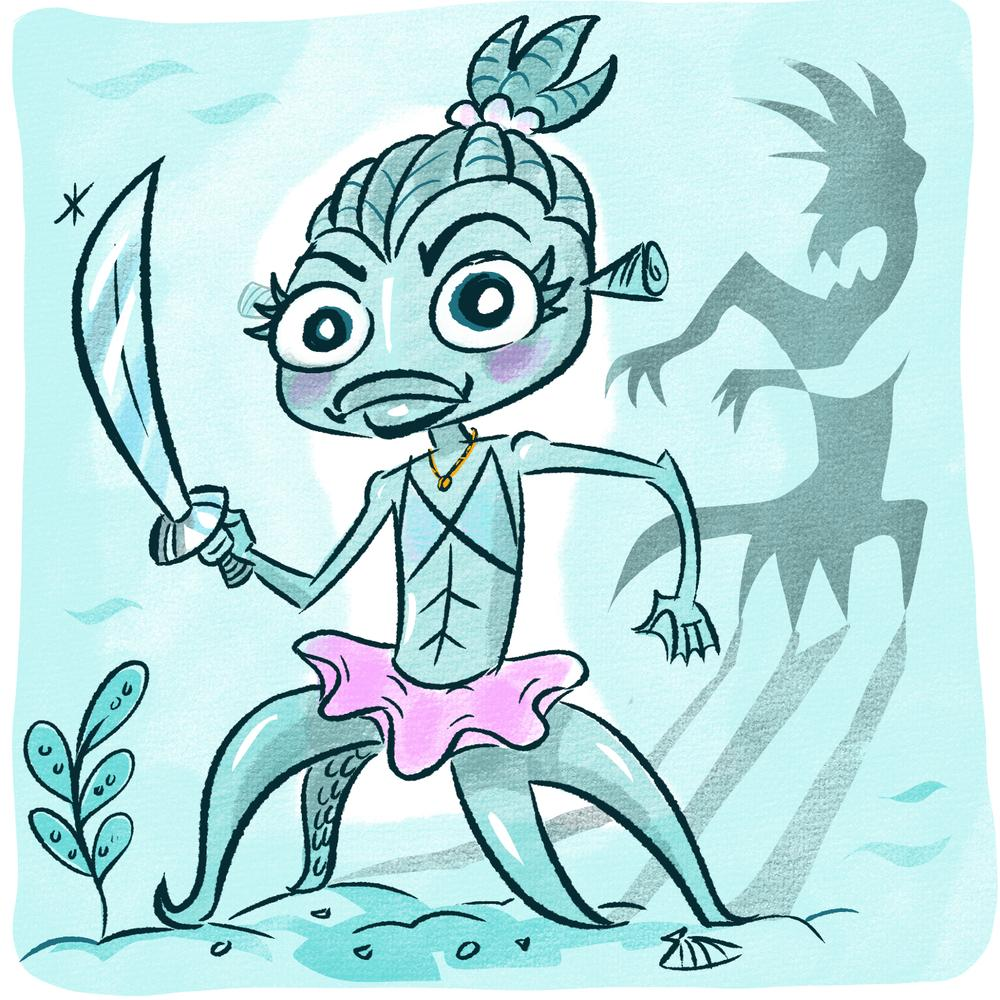 A humanoid fish wields a sword and a confident look