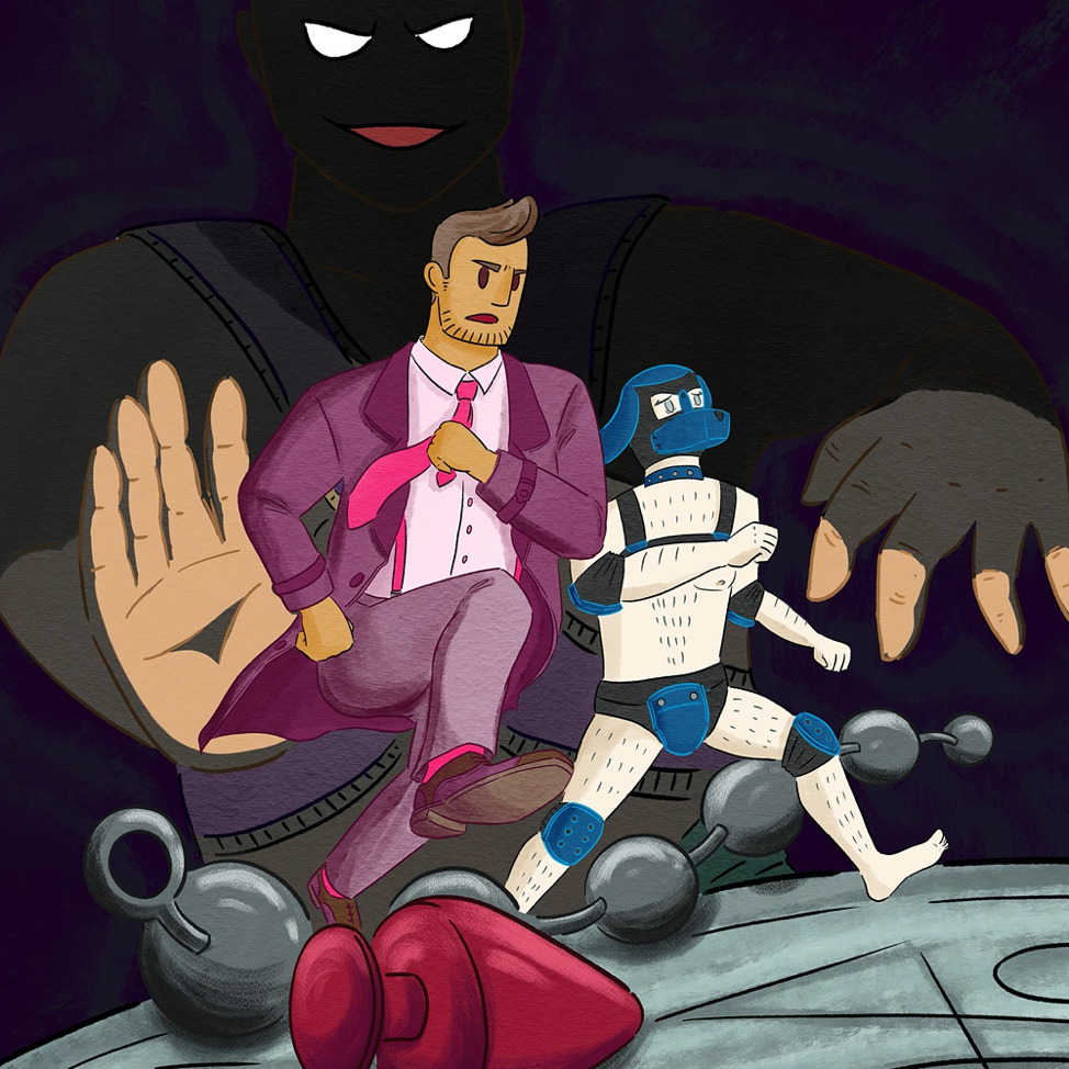 A man in a suit with. pink tie and his humanoid dog sidekick run toward us